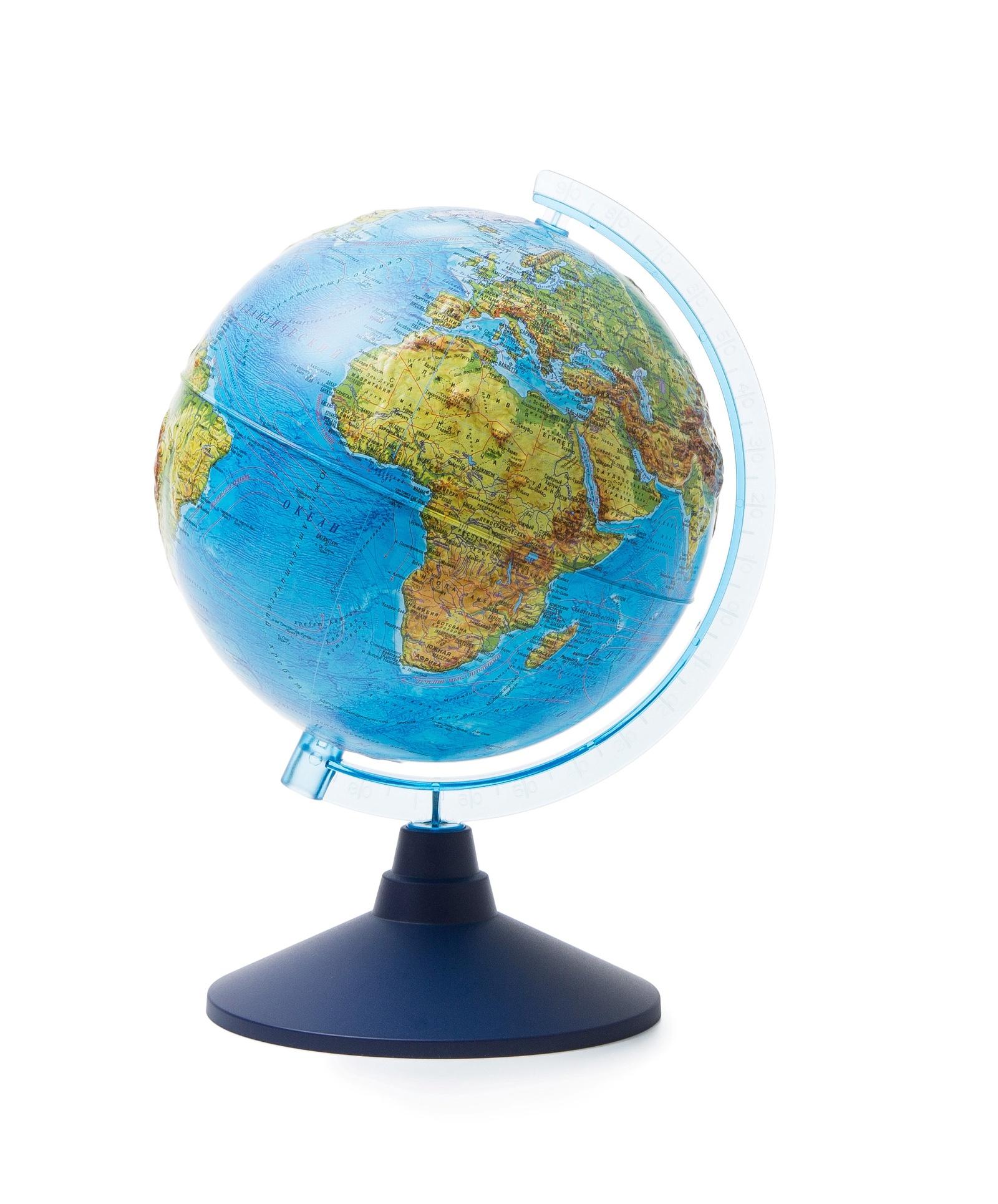 Глобус Globen Земли физический рельефный, диаметр 210 мм все цены