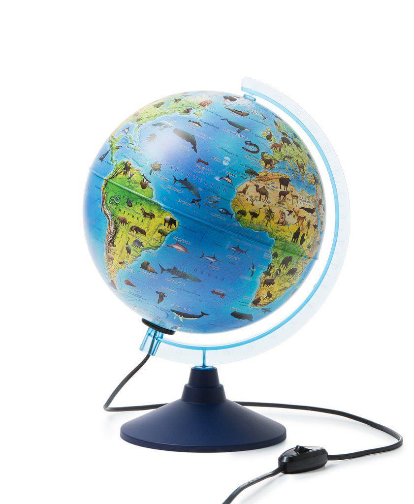 Глобус Globen зоогеографический Детский, Классик с подсветкой диаметр 21 см