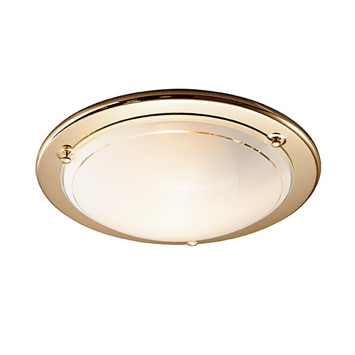 Настенно-потолочный светильник Sonex 215, золотой215Тарелка Sonex 215 серии Riga в стиле минимализм хорошо впишется в любой интерьер. Размеры (Диаметр х Высота) 380х100 мм.