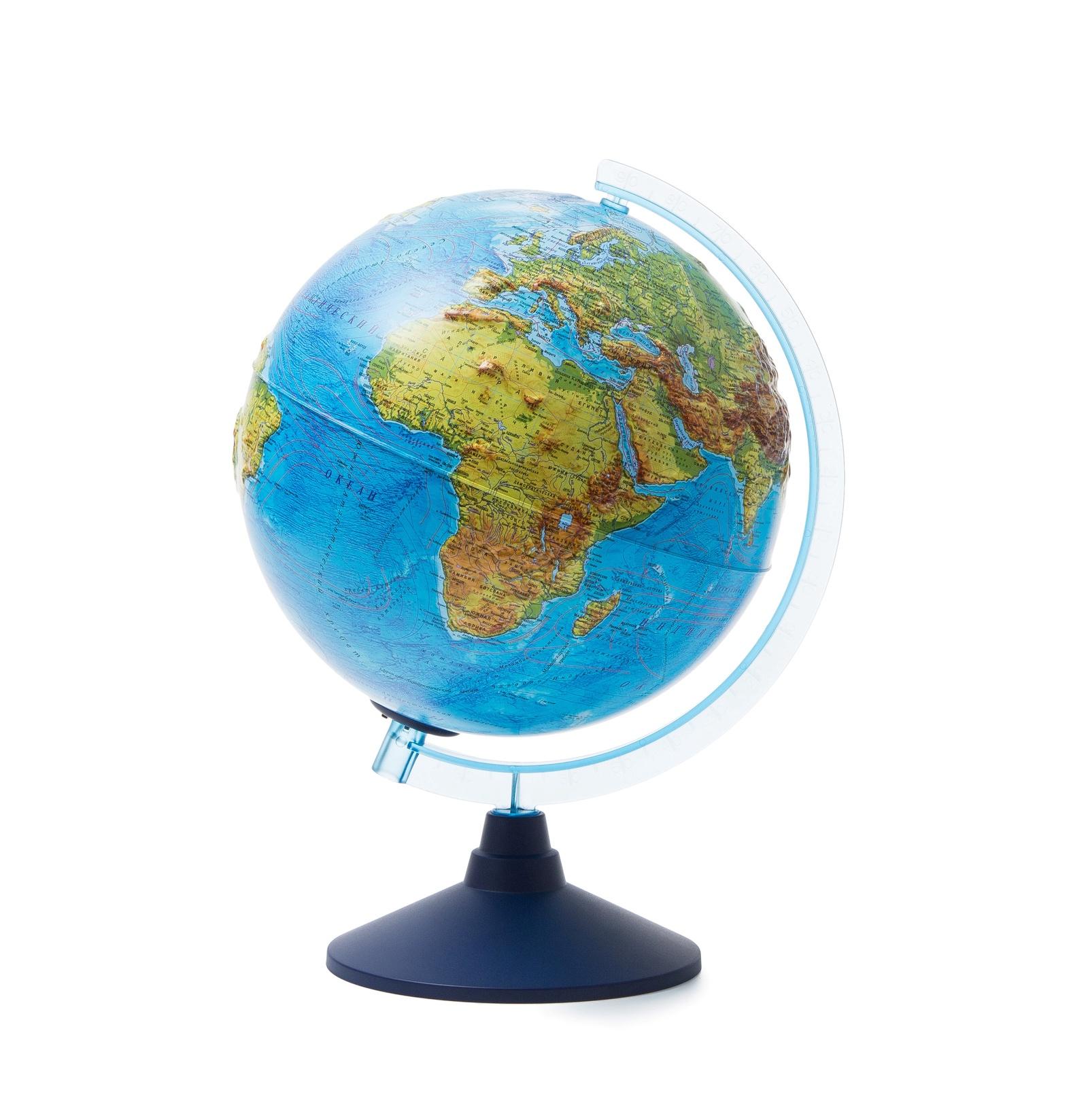 Глобус Globen Земли физико-политический рельефный с подсветкой от батареек, диаметр 25 см. globen глобус земли globen физико политический с подсветкой 320мм