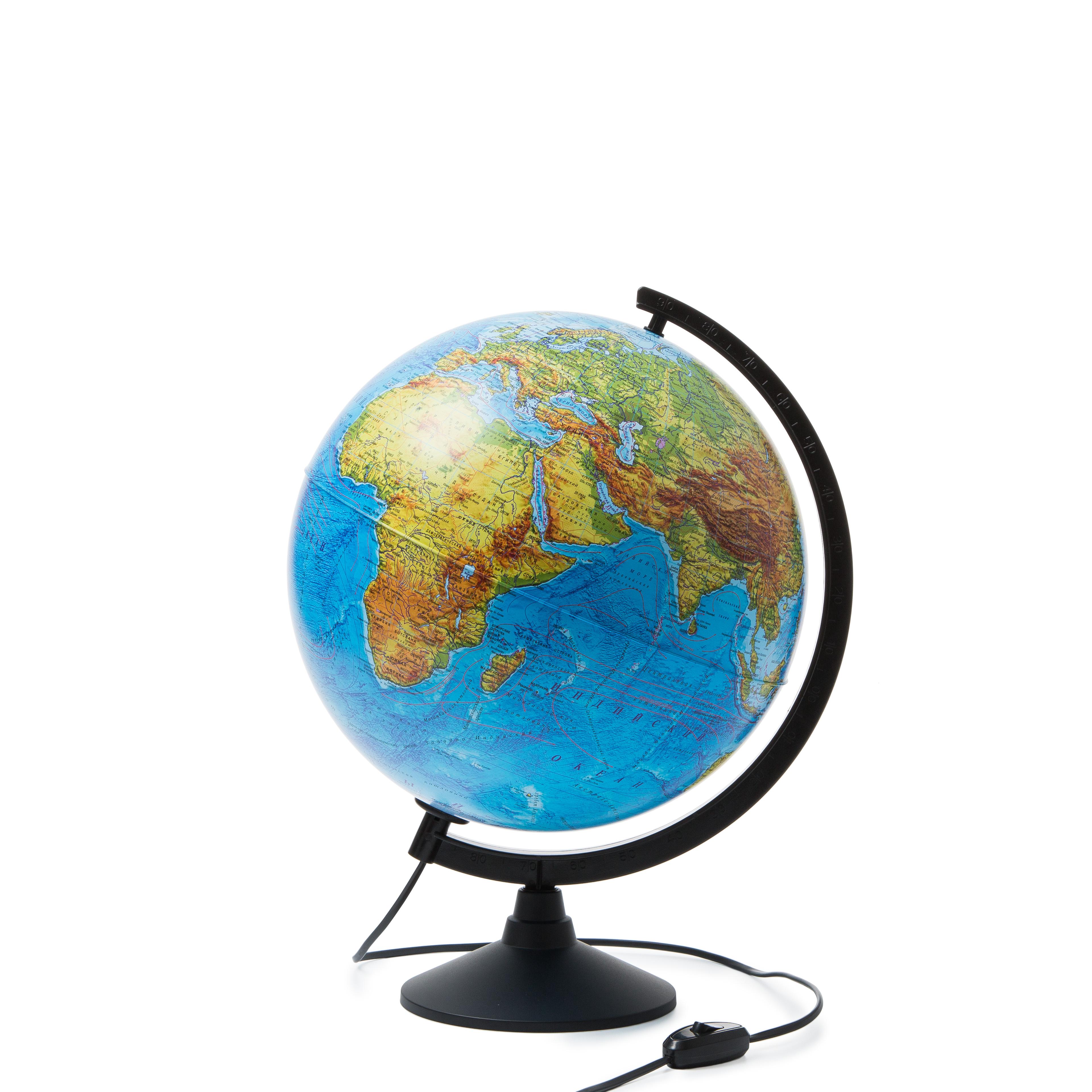 Глобус Globen Земли физический с подсветкой, диаметр 320 мм глобус globen физический рельефный