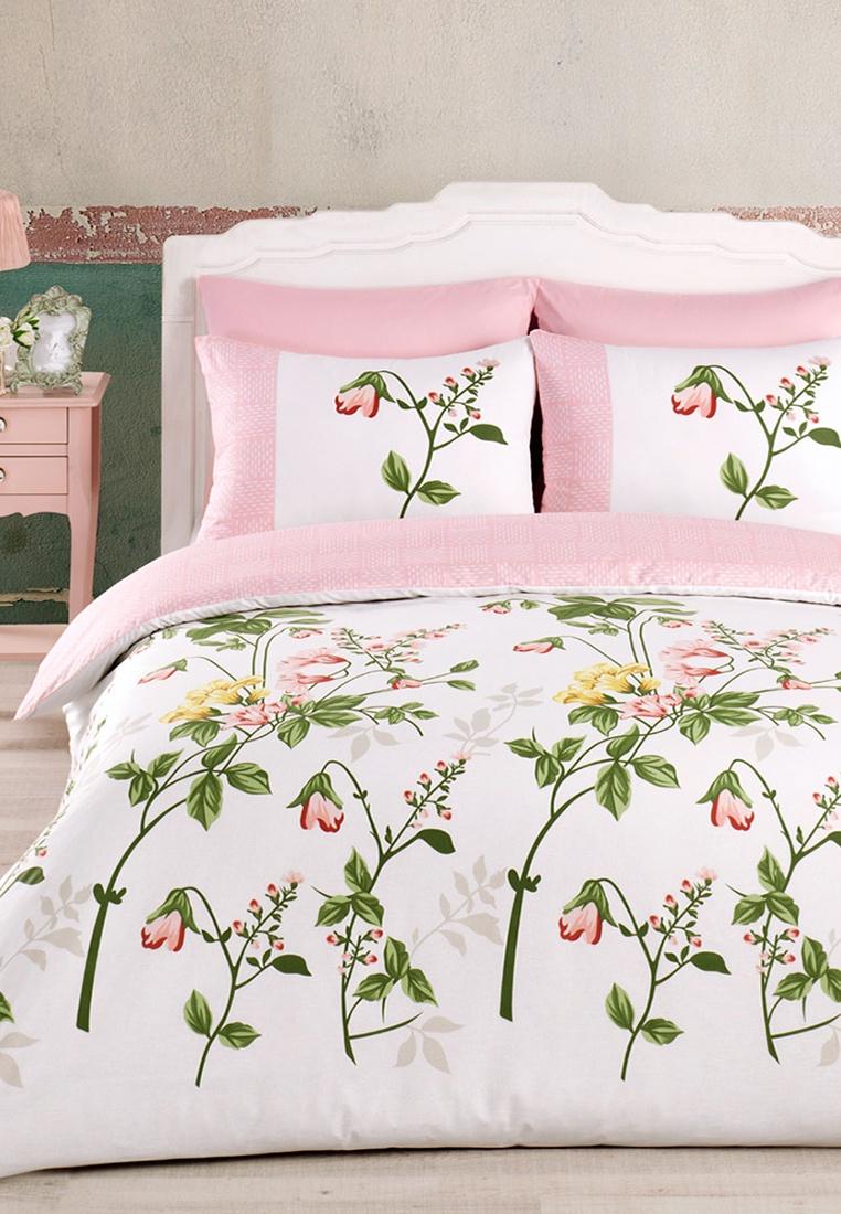 цена на Комплект постельного белья Arya home collection Flower Garden, розовый, белый, зеленый