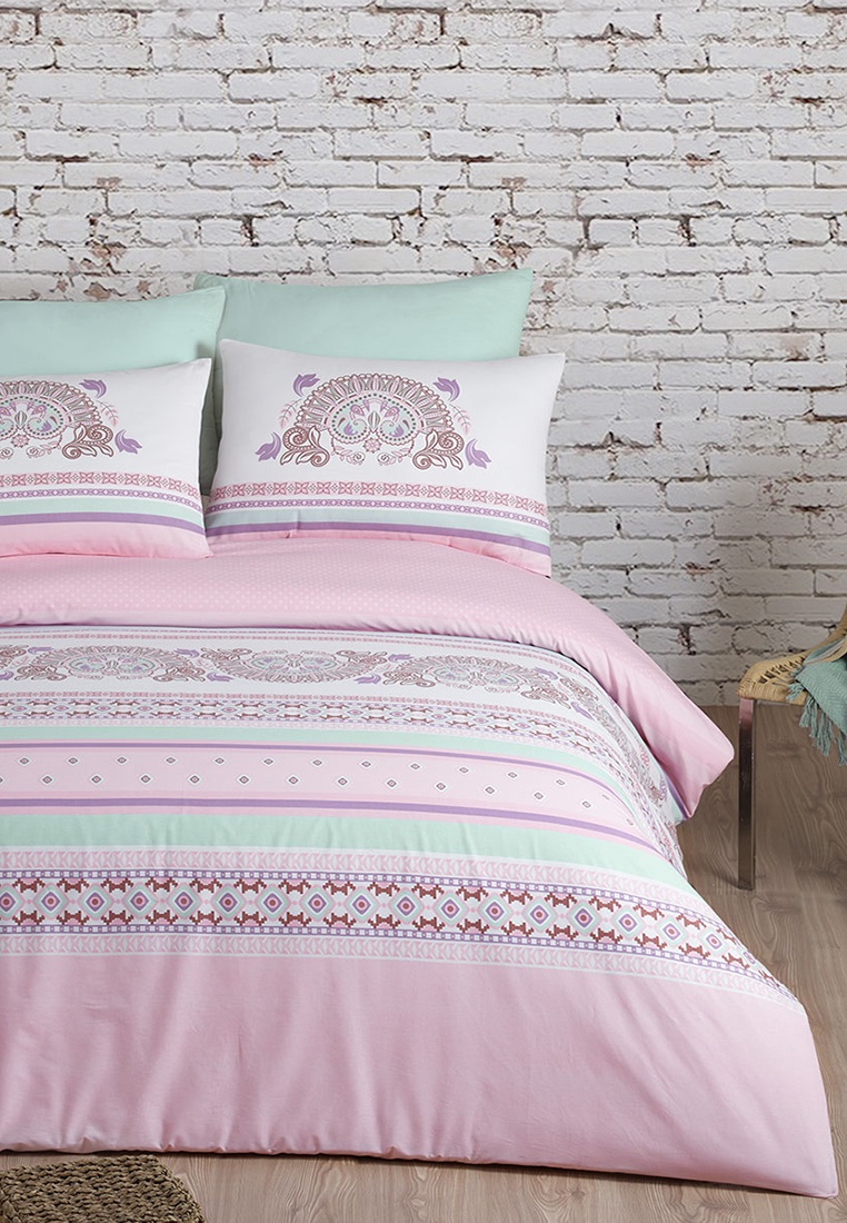 цена на Комплект постельного белья Arya home collection Electra, розовый, салатовый