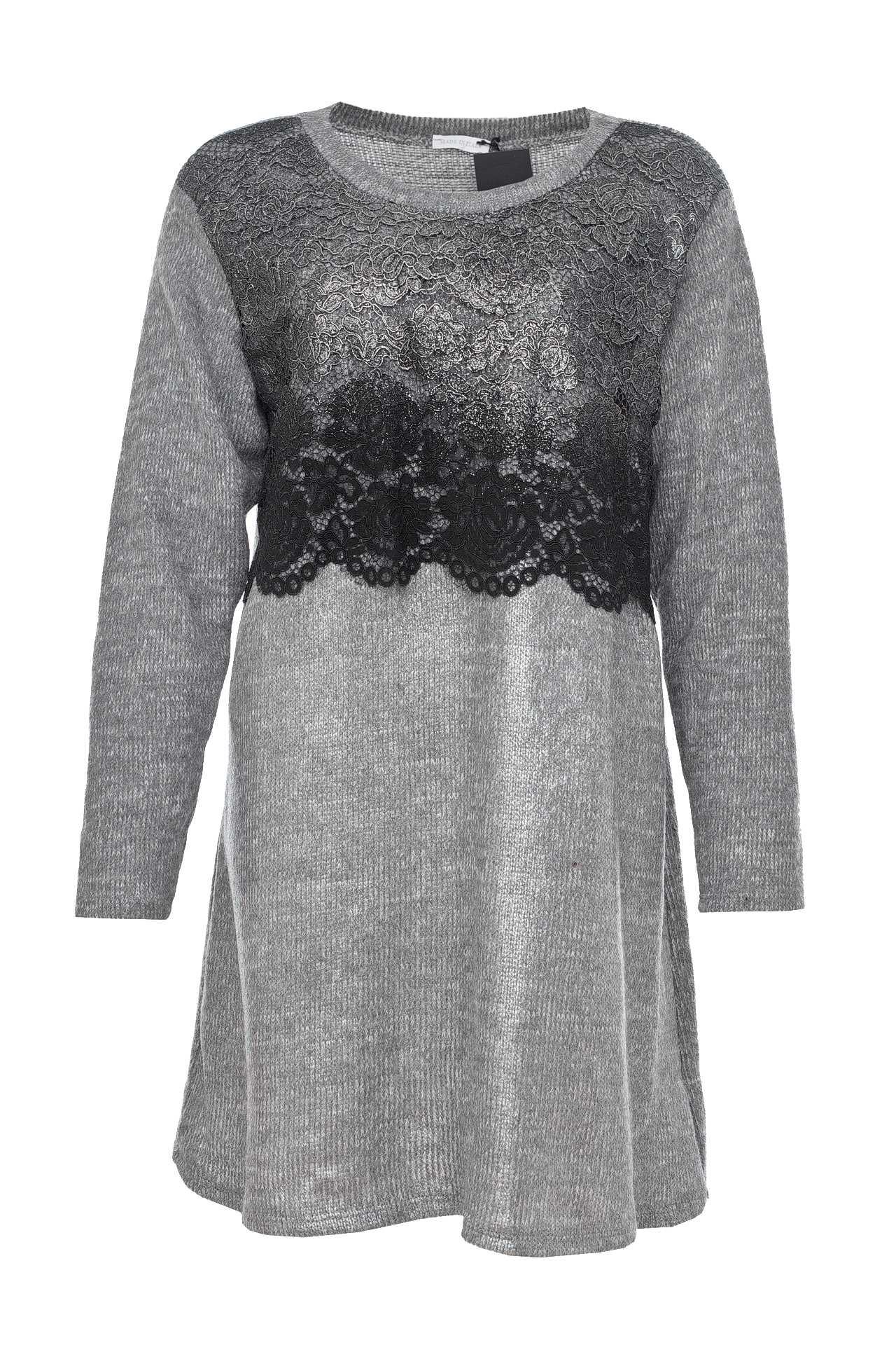 Платье INTREND21 длинный свитер с кружевом внизу купить