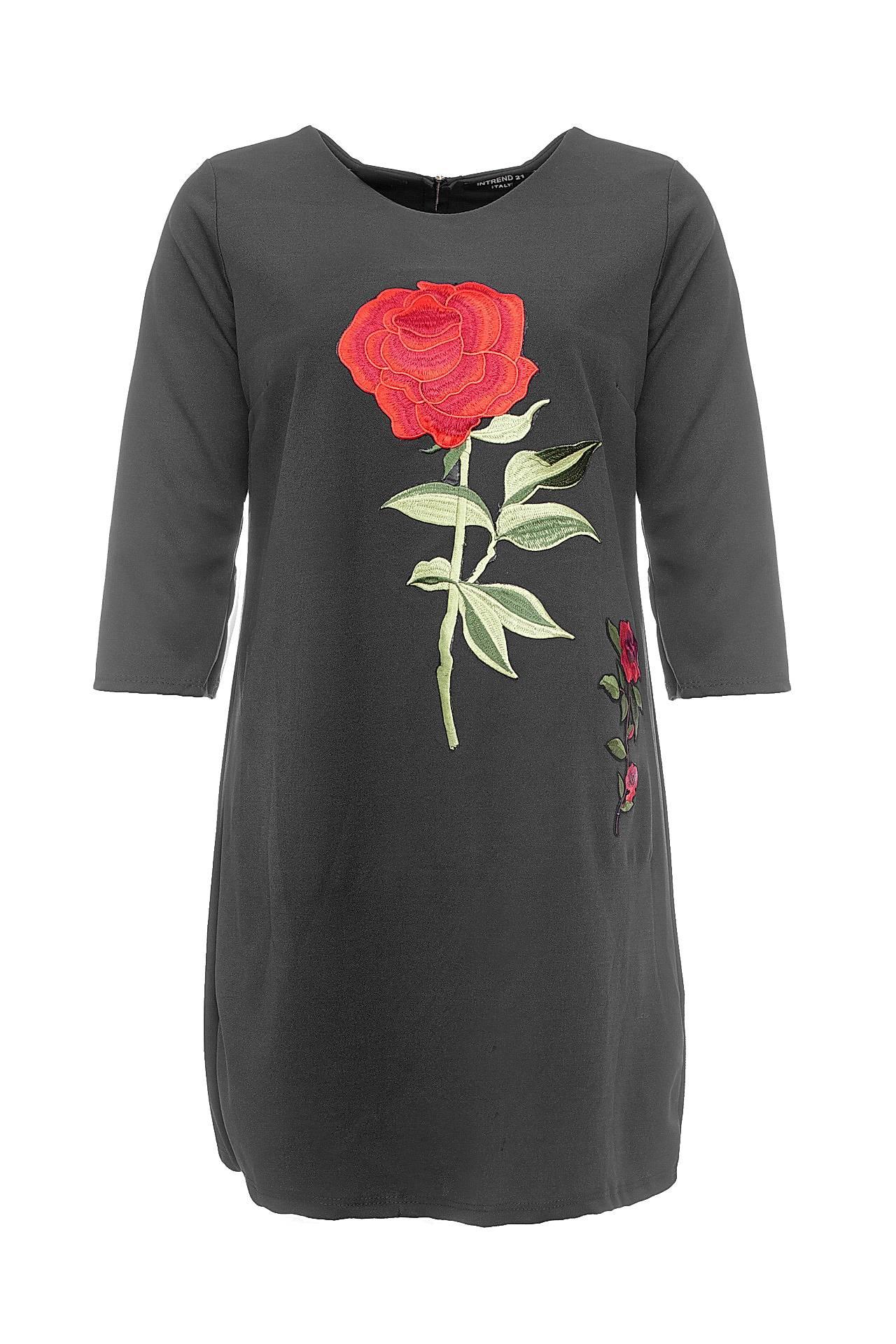 Платье INTREND21, темно-серый 44, 46 размер48641-S/MПлатье прямое, спереди вышитая машинной гладью большая алая роза с маленькой, 2/4 рукав, U-образный вырез, сзади накладная молния