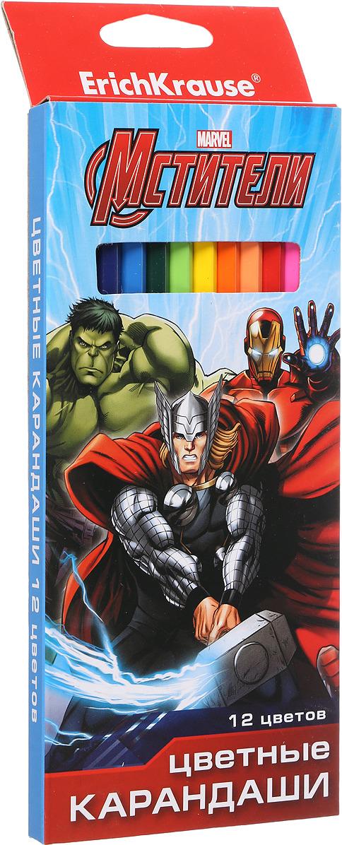 Набор цветных карандашей Erich Krause Альянс Мстители, шестигранные, 12 цветов карандаши цветные baramba шестигранные 12 цветов