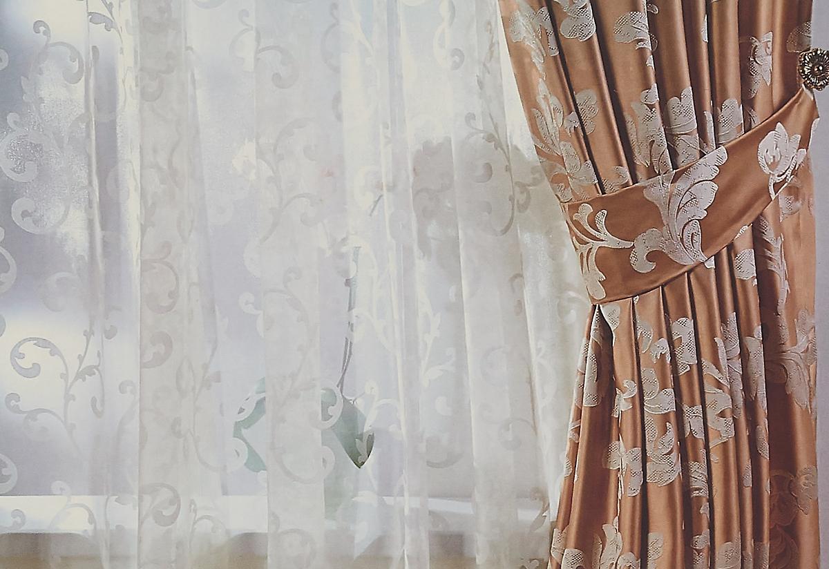 Тюль Sanpa Home Collection Дионисия, на ленте, цвет: серый, высота 280 см штора sanpa home collection розан на ленте цвет зеленый высота 280 см