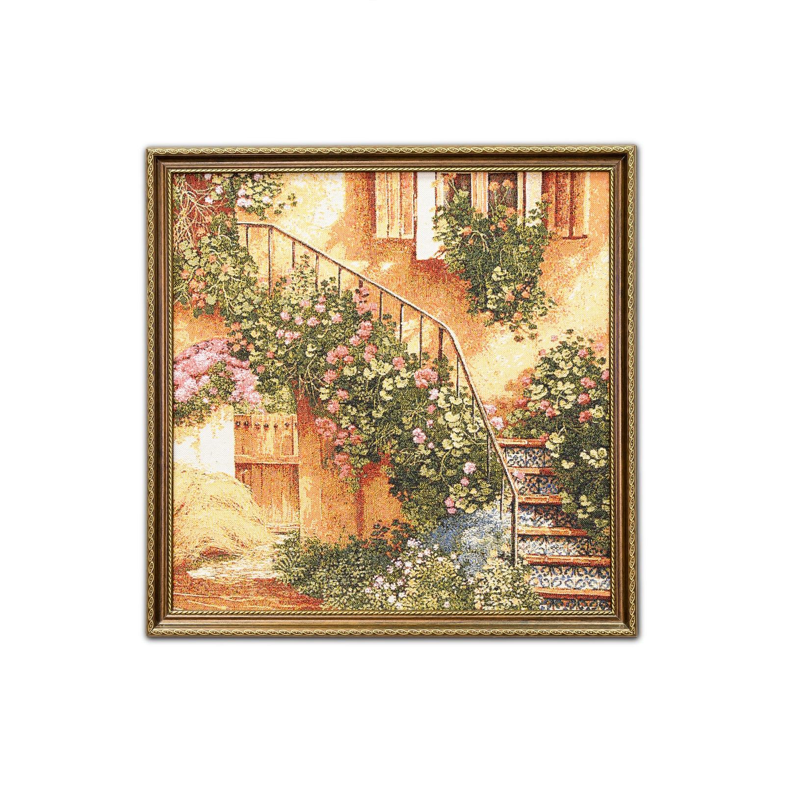 Фото - Гобелен картина интерьерная Магазин гобеленов Лестница в цветах 48/48 см гобелен картина интерьерная магазин гобеленов букет роз бордюр 65 на 85 см