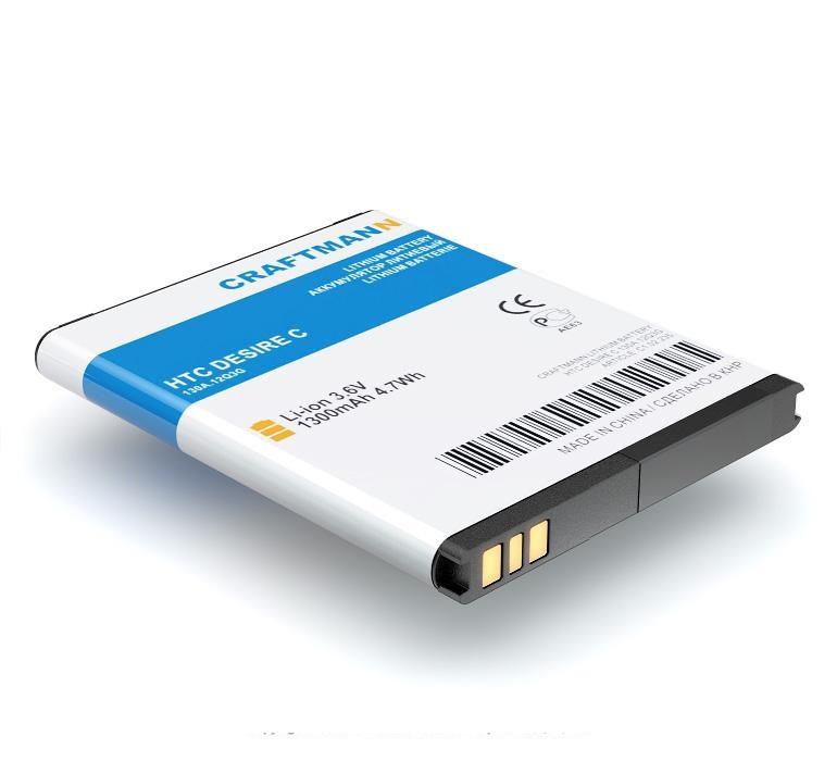 Аккумулятор для телефона Craftmann BL01100 для HTC Desire C, Desire A320E, Desire 200 аккумулятор для телефона ibatt bl01100 ba s850 для htc desire 200 a320e desire c htc a320e desire 200 102e d210h