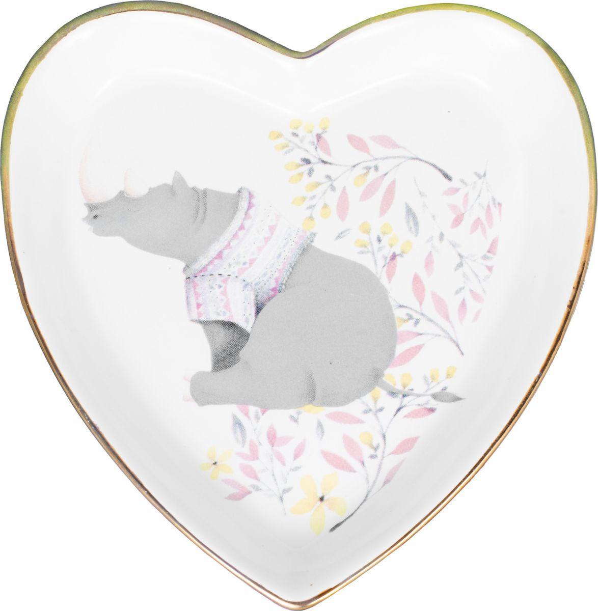 Декоративная тарелка Magic Home Носорог, белый