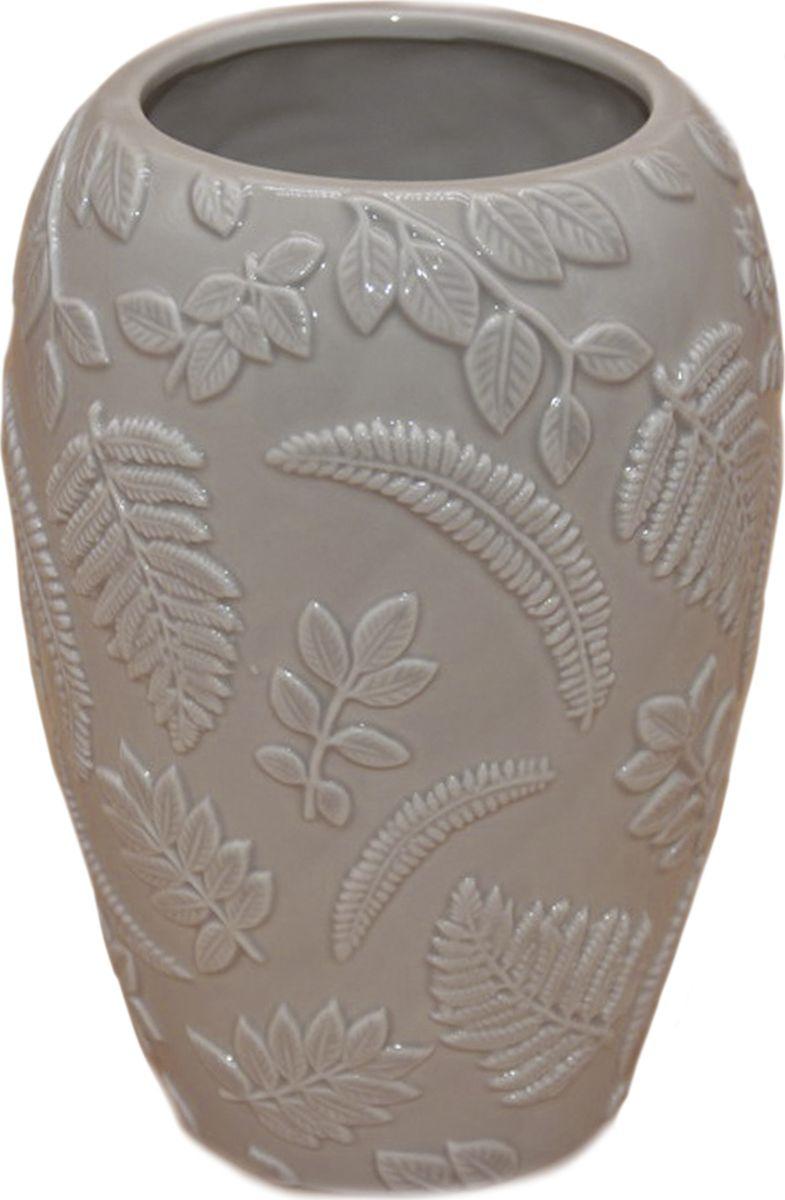 Ваза декоративная Magic Home Лиственные орнаменты, 79856, серый ваза декоративная magic home объемные цветы 79859 белый