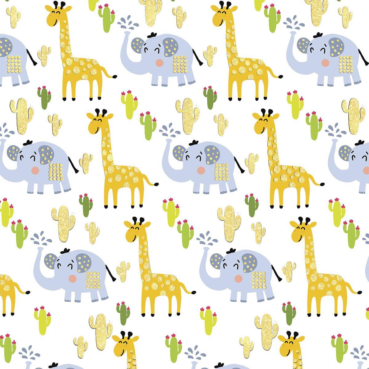 Упаковочная бумага Magic Home Жираф и слон, 79466, мультиколор, 100 х 70 см