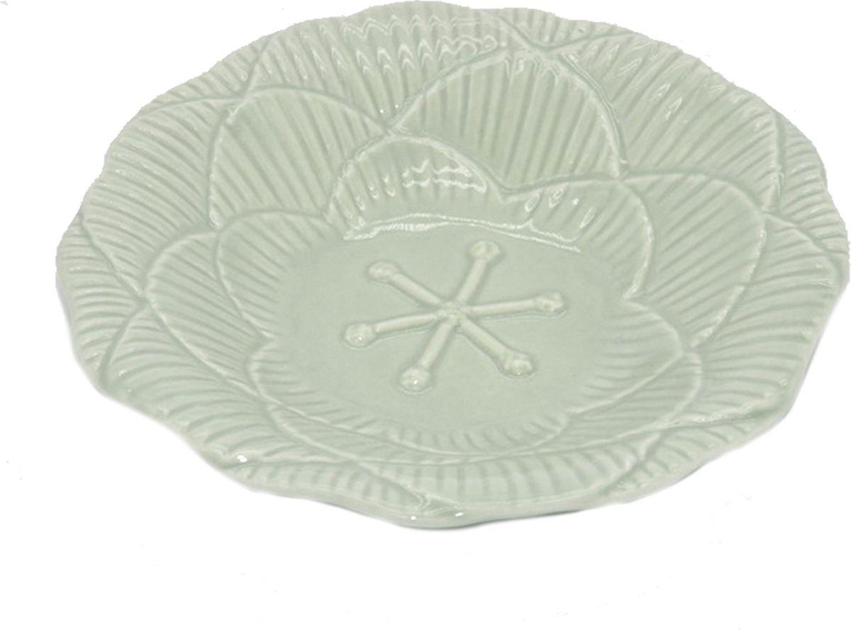 Декоративная тарелка Magic Home С цветочным узором, зеленый