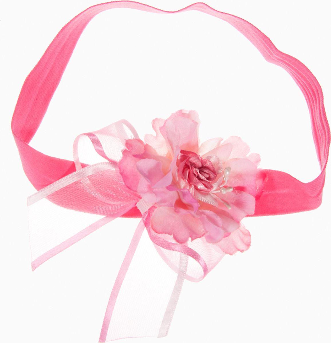 Повязка для волос Babys Joy, MN 15, малиновыйMN 15Повязка на голову. Изготовлена из трикотажной эластичной ленты. Украшена капроновым бантом и цветком. Ширина повязки 2 см.