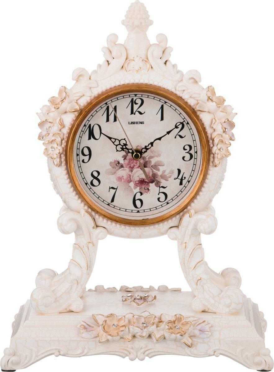 Настольные часы Lefard Белые цветы, кварцевые, 204-126, 37 х 27,5 х 16,5 см