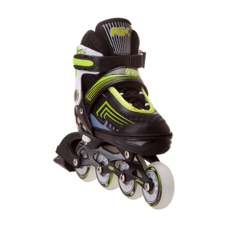 """Коньки раздвижные роликовые RGX, зеленый 31 размерAtom-Green-03Роликовый раздвижной конек. Раздвигается на 4-е размера. Внешний ботинок: пластик, ткань. Внутренний ботинок: ткань, пенополиуретан. Тип фиксации: классическая система шнуровки, ремешок """"velcro"""", клипса с фиксатором. Рама: алюминий. Материал колеса: PU (полиуретан). Особенности: LED-подсветка всех колес. Подшипник: ABEC-7. Упаковка: удобная сумка с ручкой."""