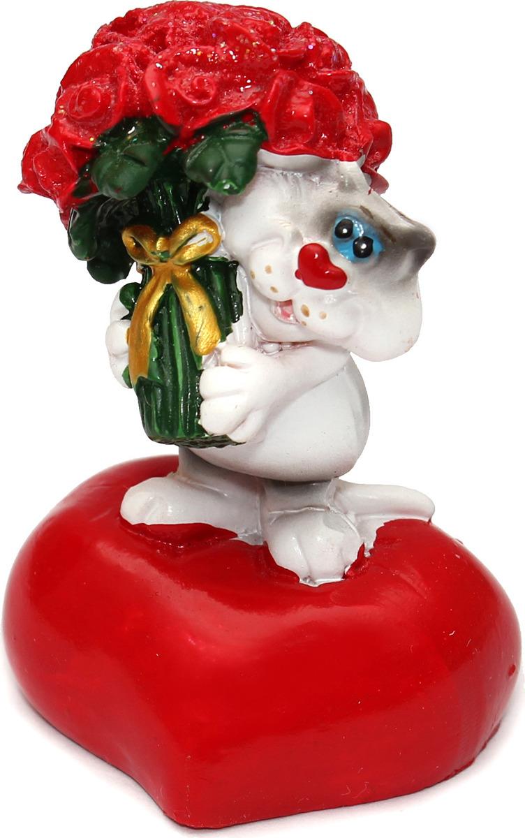 Статуэтка Miland Котик с букетом цветов, Т-3933, мультиколор