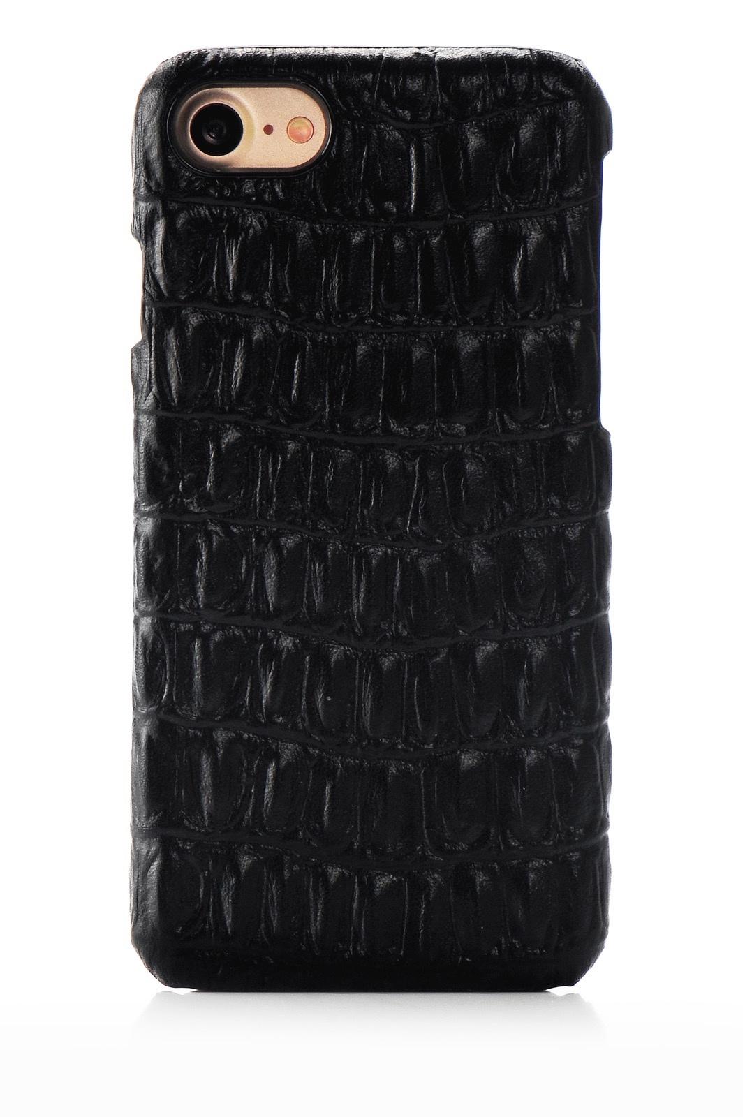 """Чехол для сотового телефона I-Idea Exclusive натуральная кожа имитация крокодила для Apple iPhone 7/8 4.7"""", черный"""