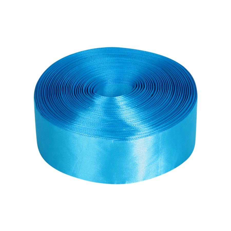 Лента Свадьба атласная, ярко-голубая, ширина 5см, длина 98м817Атласная лента широко применяется в декорировании интерьера и украшении одежды, создании аксессуаров и игрушек, скрапбукинге и вышивании. Она изготовлена из полиэстера, обладает высокой прочностью и устойчива к тепловому воздействию. Изделие гладкое и приятное на ощупь, не пушится и отливает лёгким блеском.