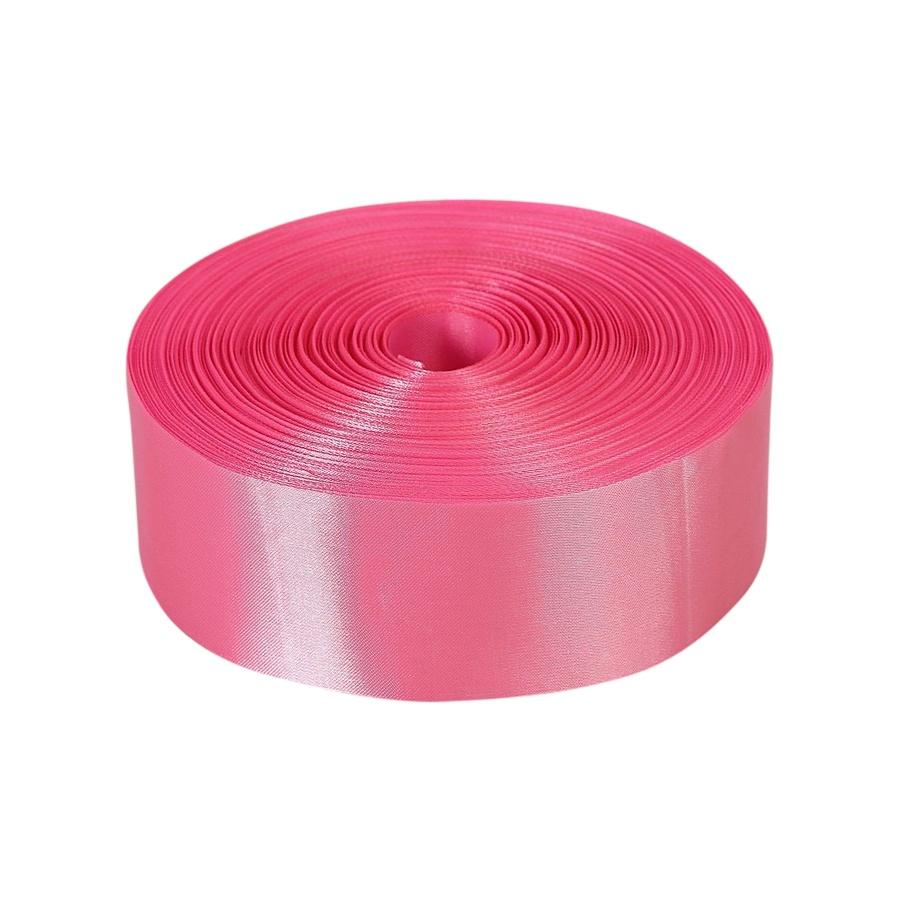 Лента Свадьба атласная, розовая, ширина 5см, длина 98м