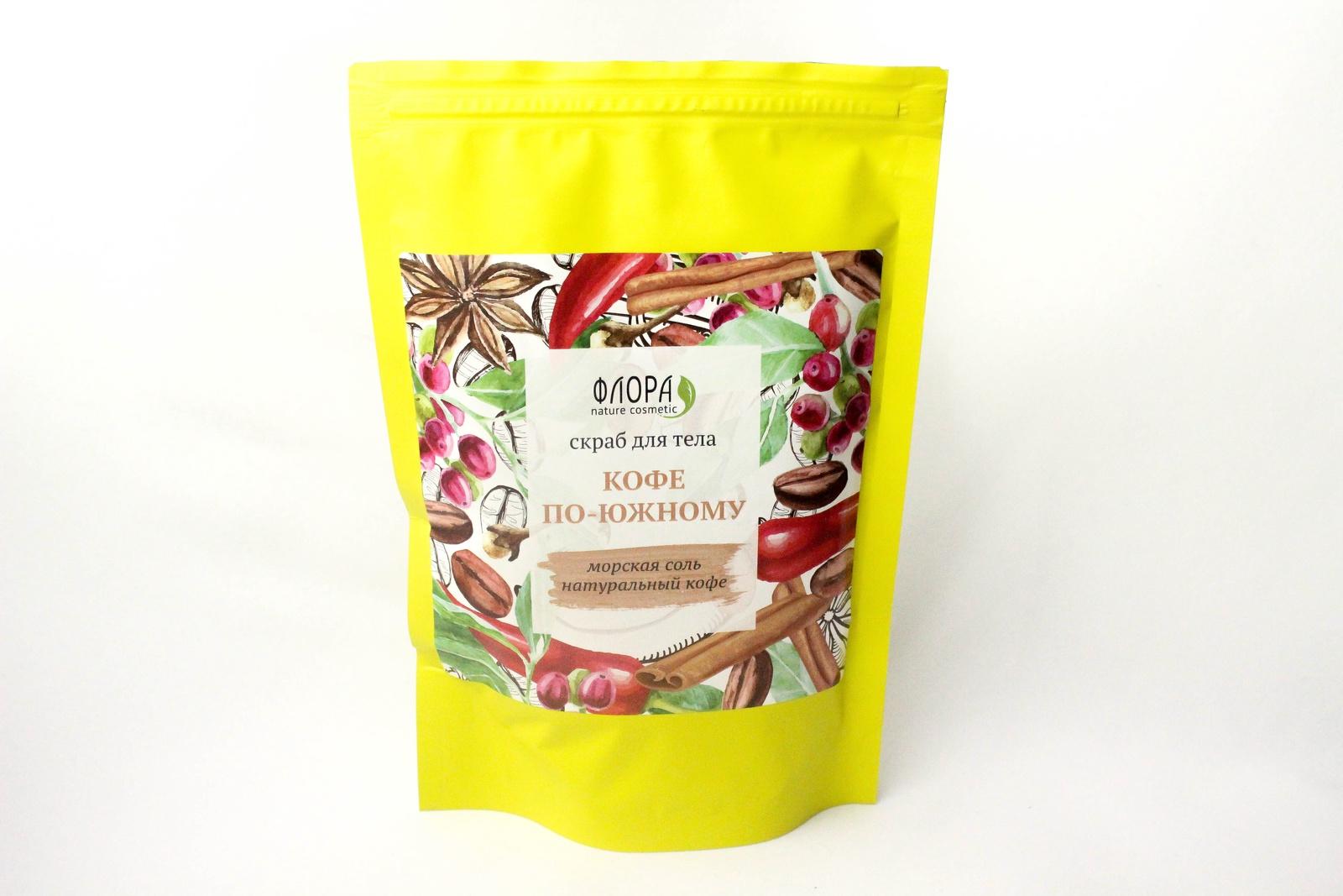 Скраб Флора Натуральный сухой Кофе по-южному, 150 г скраб для сауны из кофе