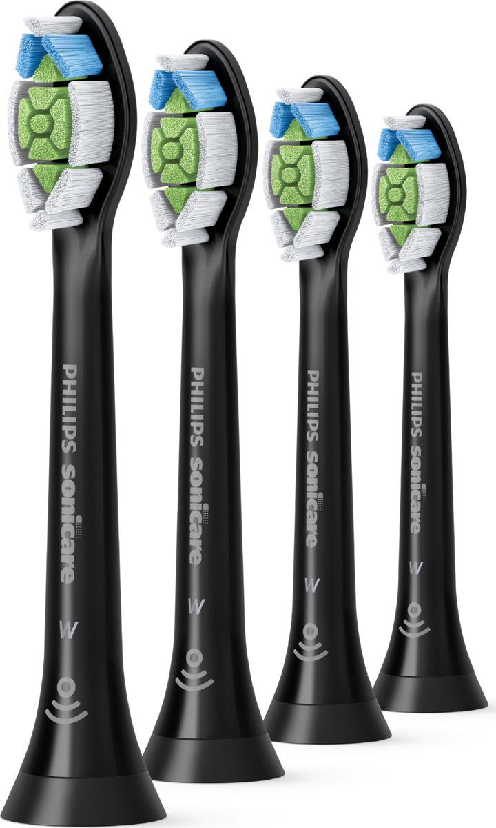 Насадка для электрической зубной щетки Philips Sonicare W2 Optimal White HX6064/11 с функцией BrushSync, черный, 4 шт