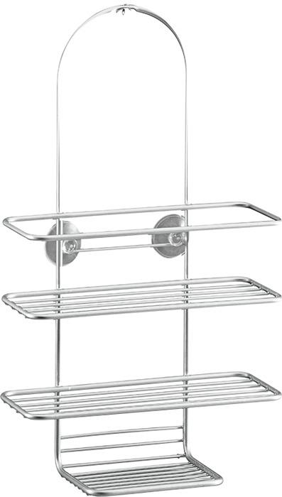 Полка для ванной комнаты Metaltex Reflex, 40.42.02, серый, 43 х 25 х 11 см полка metaltex onda safe fix 2 уровневая угловая цвет серый 22 х 22 х 35 см