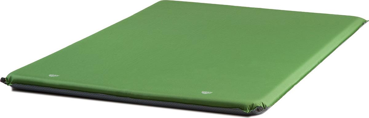 Коврик самонадувающийся Trek Planet Relax 70 Double, кемпинговый, двухспальный, 70444, зеленый, 198 х 130 см70444Самонадувающийся двухспальный кемпинговый коврик TREK PLANET Relax 70 Double идеально подойдет путешествующим парой для многодневного кемпинга. Надежный и удобный в использовании благодаря большой толщине 7 см является прекрасной альтернативой надувным кроватям, скроет любые неровности в виде корней или камней под полом палатки. У коврика большой размер, что позволяет максимально эффективно использовать пространство кемпинговой палатки. Обеспечивает теплоизоляцию по всей занимаемой площади, поэтому ценится любителями двойных спальников. Внешний материал коврика - прочный, нескользкий и приятный на ощупь полиэстер 75D PVC. На нижнюю Antislip-поверхность коврика дополнительно точками нанесено силиконовое покрытие для предотвращения скольжения коврика по полу. Два больших латунных клапана сокращают время самонадувание коврика. Характеристики:Коврик двойного размера, идеально подойдет для тех, кто путешествует паройБольшая толщина коврика обеспечивает максимальный уровень комфортаAntislip-поверхность - точечное нанесение силикона на нижнюю поверхность коврика не дает ему скользить по полу Два латунных клапана обеспечивают долговечность и уменьшают время самонадувания коврикаБольшая длина коврика - 198 смПрочный, нескользкий и приятный на ощупь материал: Полиэстер 75D PVCКомпрессионные резиновые кольца и чехол для аккуратного хранения и переноски в комплекте