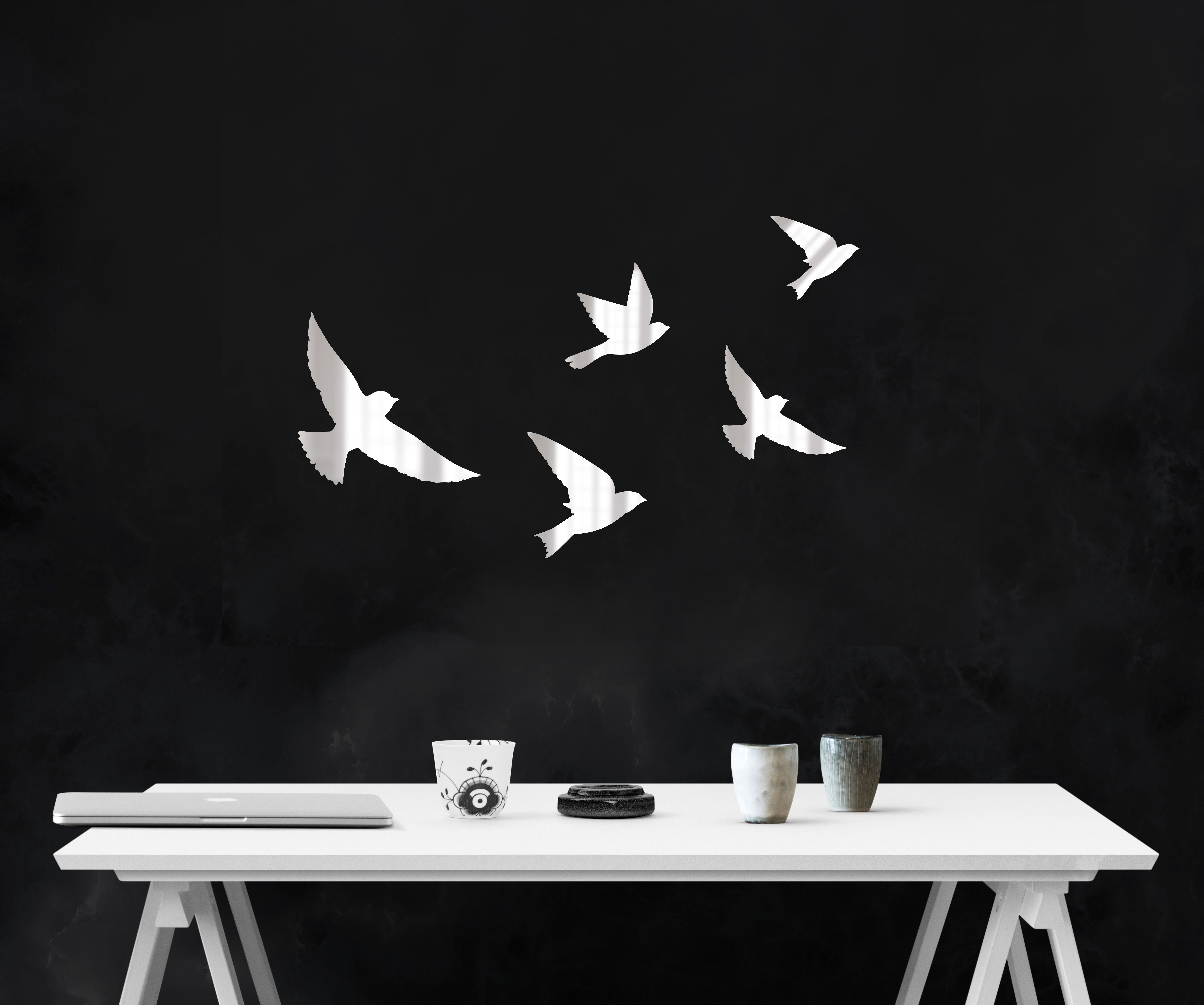 Украшение на стену Roomton Птицы, зеркало, декор на стену, Акрил