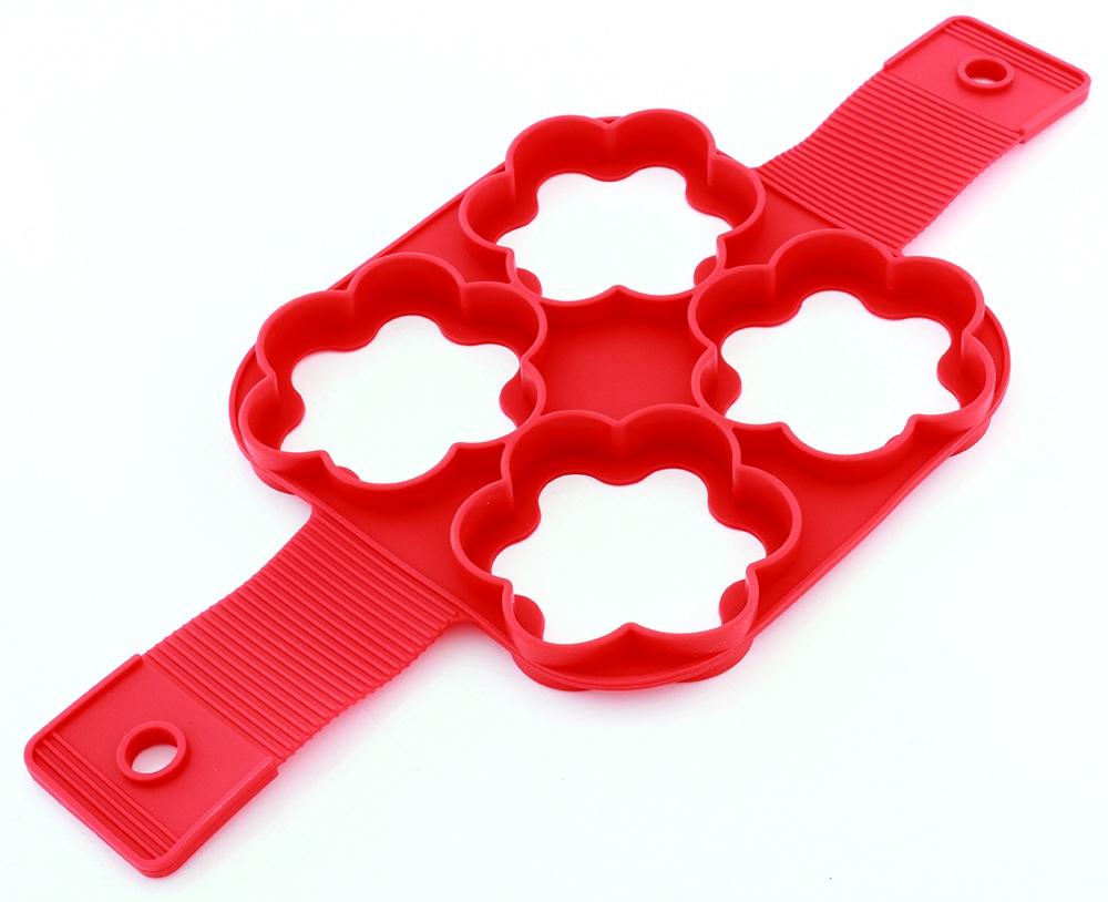 Кулинарный инструмент Силиконовая форма для приготовления оладий/яичницы, красный