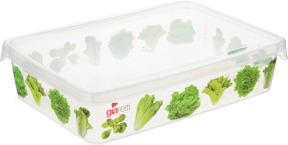 Емкость для продуктов Giaretti Браво. Салат, цвет: прозрачный, 900 мл емкость для продуктов giaretti браво цвет белый прозрачный 900 мл gr1068