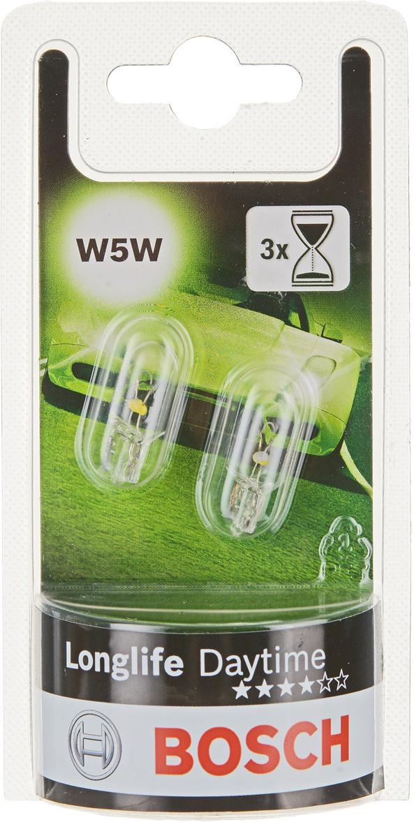 Лампа накаливания Bosch W5W, автомобильная, 12V, 5W, 2 шт автомобильная лампа w5w 5w standart 2 шт philips