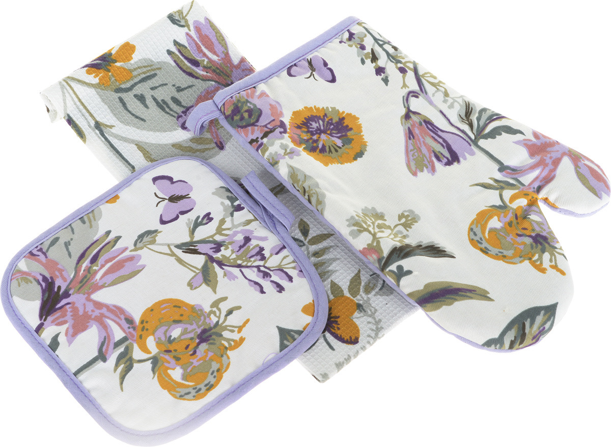 рукавицы прихватки фартуки романтика прихватка рукавичка лимонный сад Подарочный набор для кухни Bonita Тропикана, 3 предмета