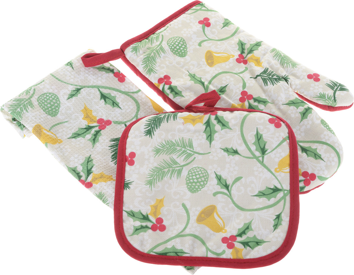 рукавицы прихватки фартуки романтика прихватка рукавичка лимонный сад Подарочный набор для кухни Bonita Рождество, 3 предмета