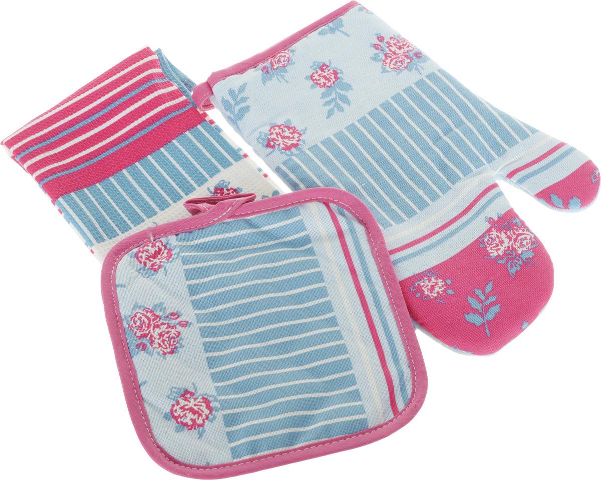 рукавицы прихватки фартуки романтика прихватка рукавичка лимонный сад Подарочный набор для кухни Bonita Мэри Поппинс, 3 предмета