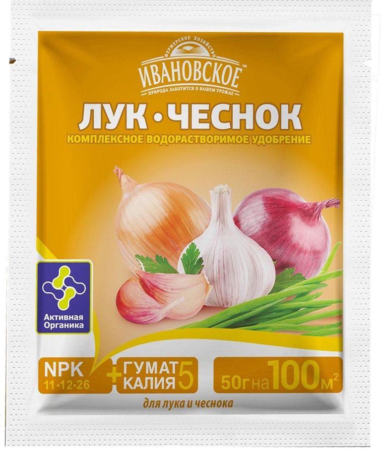 Удобрение Фермерское хозяйство Ивановское Лук, чеснок, 50 г удобрение биона водорастворимое комплексное лук чеснок 50г