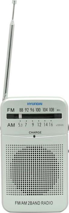 Радиоприемник портативный Hyundai, H-PSR120, серебристый