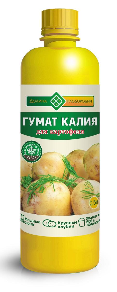 Удобрение Долина Плодородия Гумат калия для картофеля 0,5л, коричневый цена