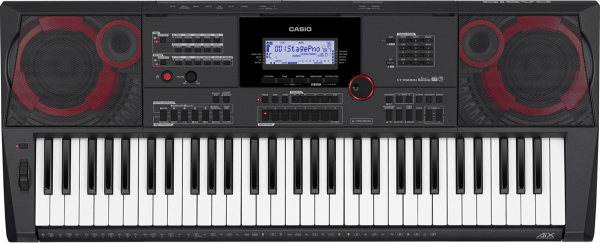 Синтезатор Casio, черный, CT-X5000CT-X5000Интерактивный клавишный инструмент Casio CT-X5000 наделен множеством интересных функций, предлагает отличное качество звучания и универсальный интерфейс. Это 61-клавишный синтезатор имеет 235 стилей автоаккомпанемента (плюс пользовательские ритмы), 800 предустановленных тембров, арпеджиатор, DSP-процессор с множеством эффектов, встроенную акустическую систему мощностью 2х15 Вт.