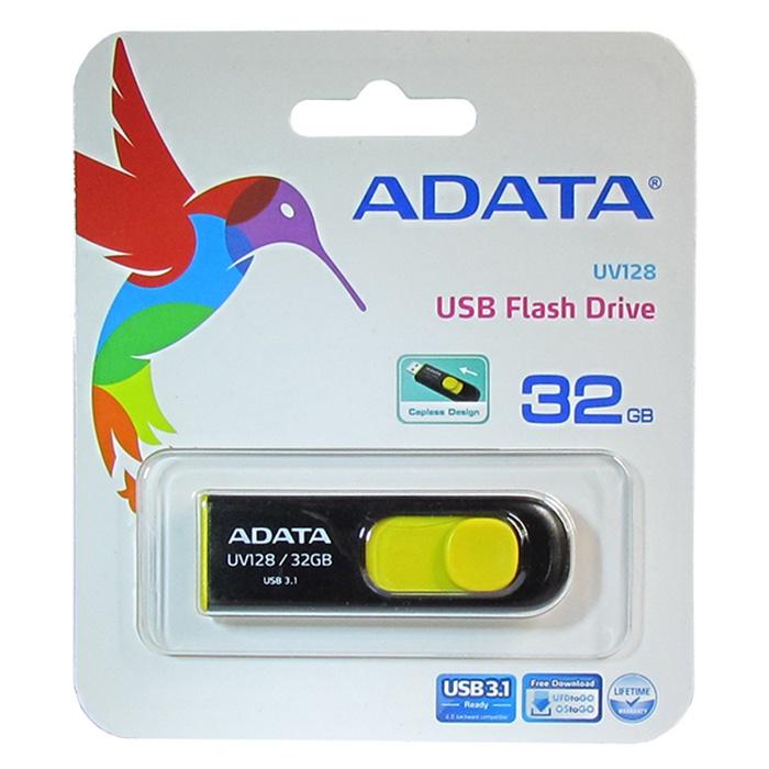 USB Флеш-накопитель ADATA UV128 32GB USB 3.1 usb накопитель 32gb adata uv128 желтый черный auv128 32g rbe