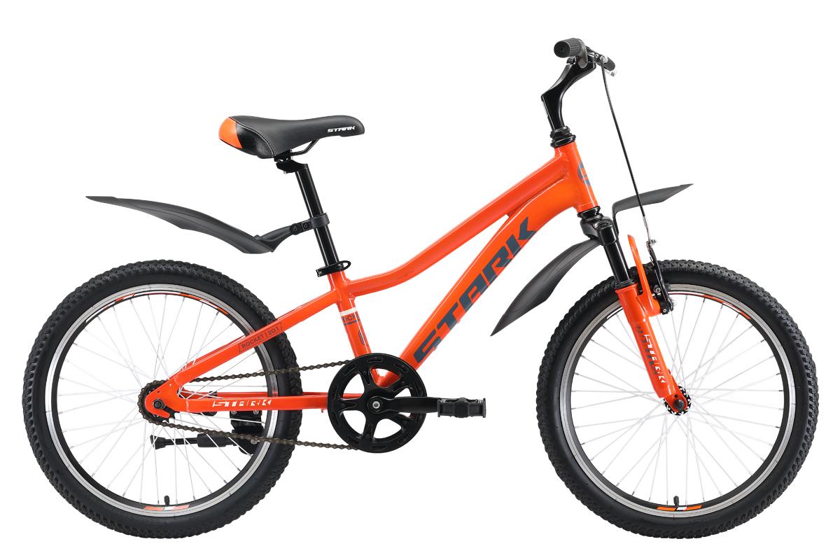 Велосипед STARK Rocket 20.1 S 2019, белый, оранжевый, серый, серый металлик