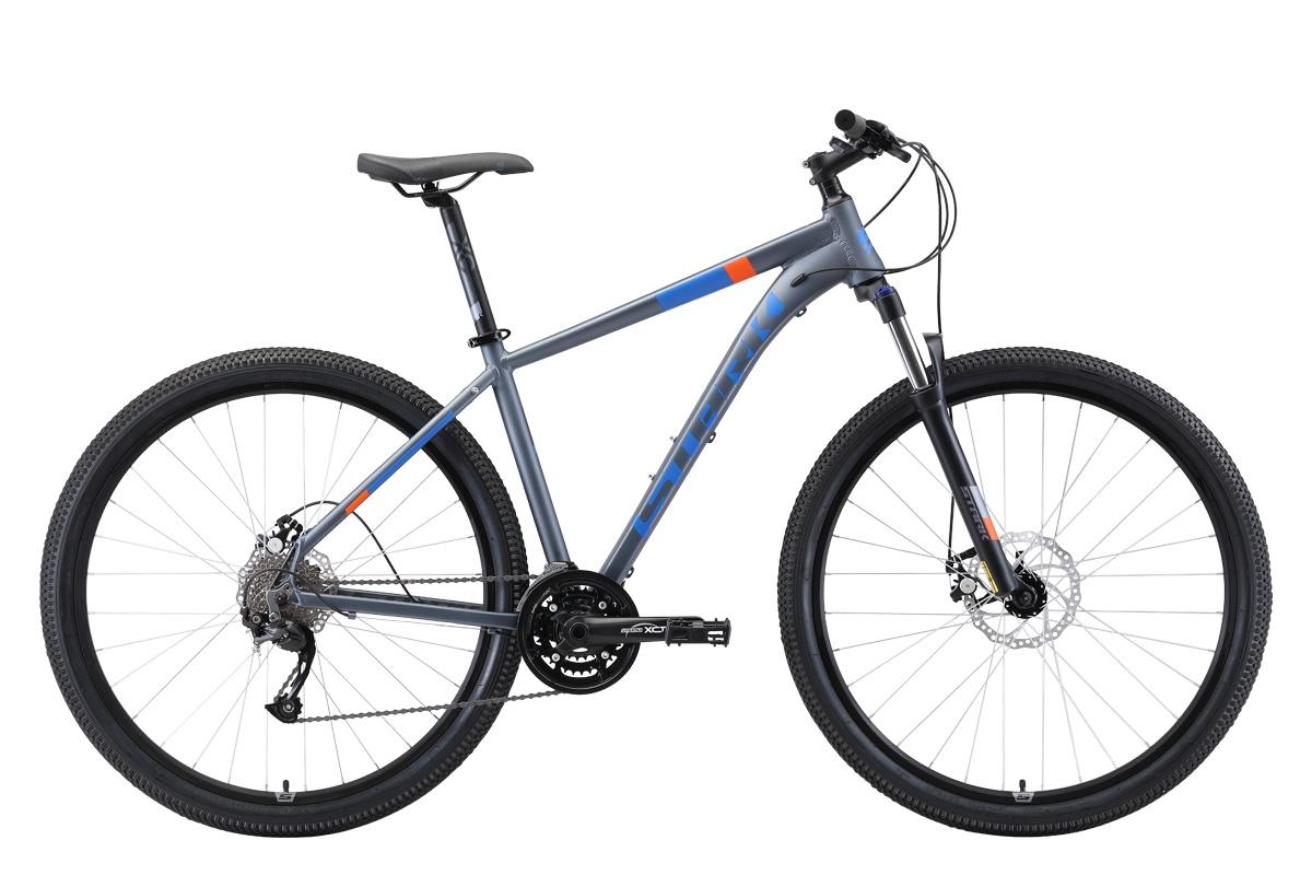 Горный (MTB) STARK Router 29.4 D 2019, голубой, оранжевый, серый, серый металлик велосипед stark router 27 3 d 2019