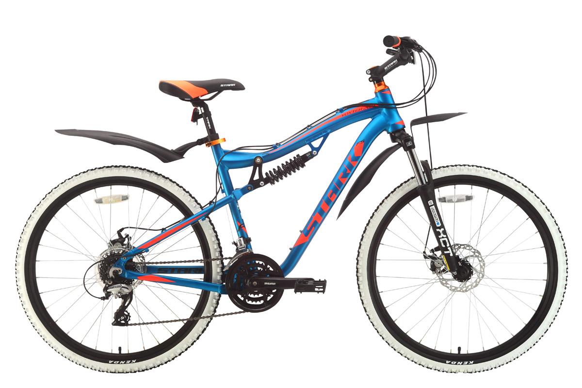 Горный (MTB) STARK Voxter 26.4 FS D 2018, голубой, оранжевый, черныйH000010527Stark Voxter 26.4 FS D - надёжный двухподвес, который предназначен для туристического и прогулочного катания по любому дорожному покрытию. Велосипед оборудован передним и задним амортизаторами, что позволяет кататься на велосипеде с большим комфортом, как по асфальту, так и по бездорожью. Алюминиевая рама с интегрированной рулевой колонкой и механические дисковые тормоза - важные особенности данной модели. 24 передачи позволяют велосипедисту подбирать правильную нагрузку в различных условиях. Передняя мягкая вилка Suntour оборудована предварительной настройкой жёсткости амортизатора. Задняя подвеска - четырёхшарнирная, с пружинным амортизатором. Колёса, диаметром 26 дюймов, комплектуются двойными ободами WEINMANN, которые сообщают велосипеду хороший накат. Надёжный контакт с дорожным покрытием обеспечивают покрышки Kenda, шириной 1,95 дюйма. Переключение передач выполняется с помощью оборудования Shimano ACERA/ALTUS. Для управления передачами, на руле установлены курковые переключатели. Дисковые тормоза Promax создают хорошее тормозное усилие и эффективны не только на асфальте, но и на бездорожье, в любую погоду.