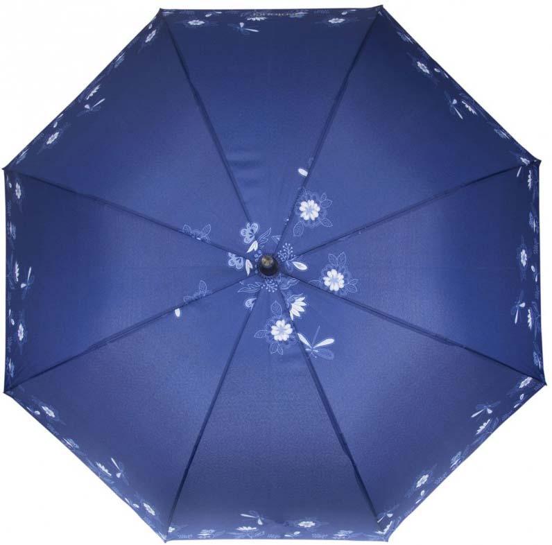 цена Зонт женский Isotoner Стрекоза, автомат, 3 сложения, 09406-9760, синий онлайн в 2017 году