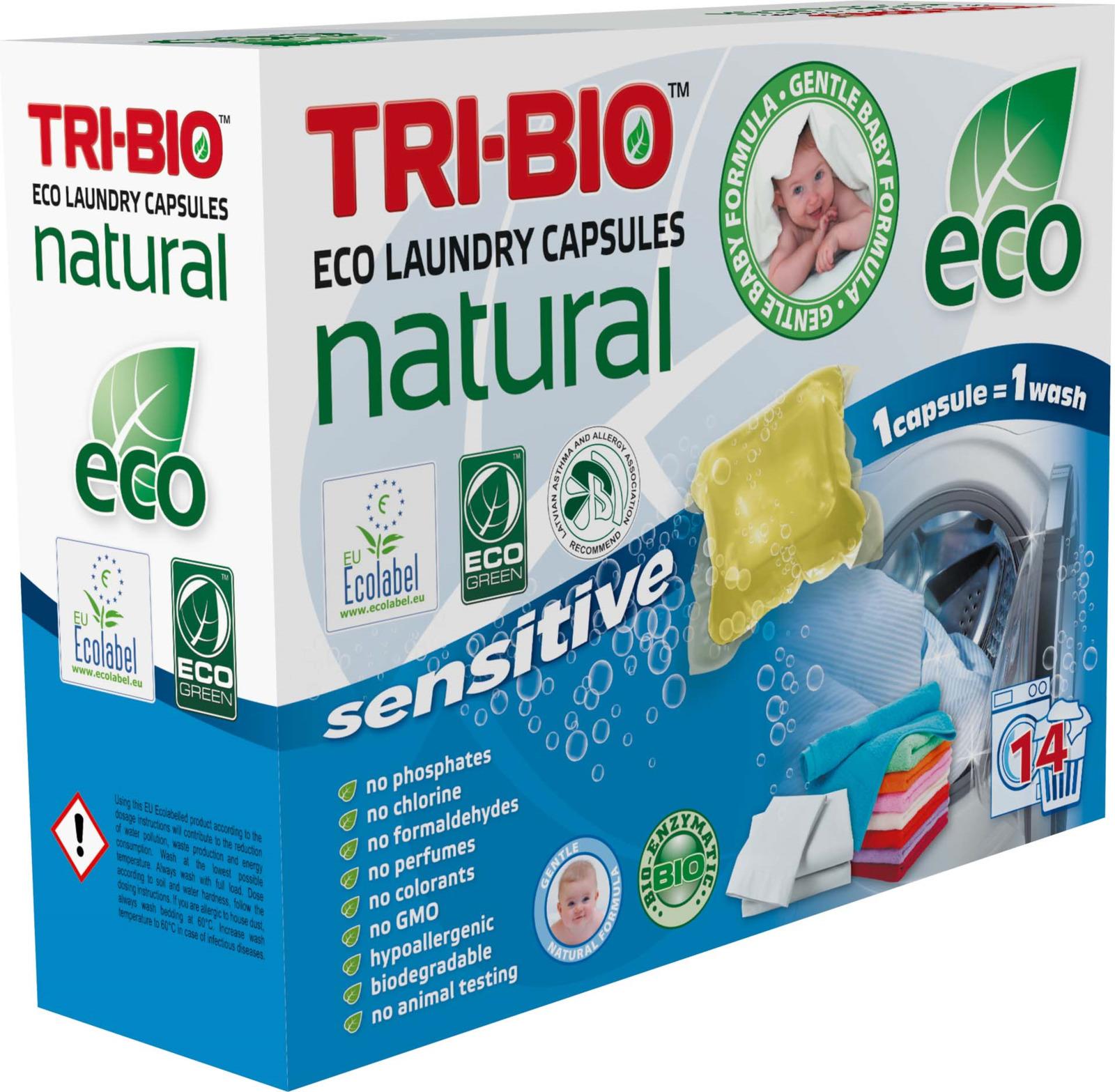 Капсулы для стирки белья Tri-Bio Натуральные, 14 шт