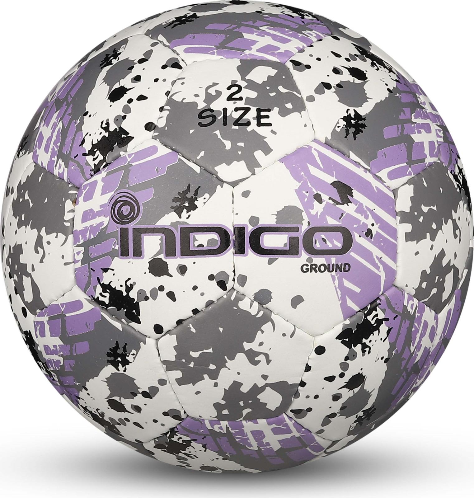 Мяч футбольный Indigo Ground, IN030, белый, серый, фиолетовый, размер 2 мяч футбольный indigo rain in031 белый синий желтый размер 3