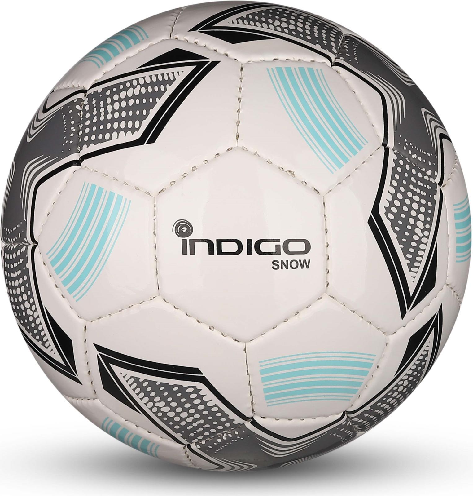 Мяч футбольный Indigo Snow, IN029, белый, голубой, серый, размер 2 мяч футбольный indigo rain in031 белый синий желтый размер 3