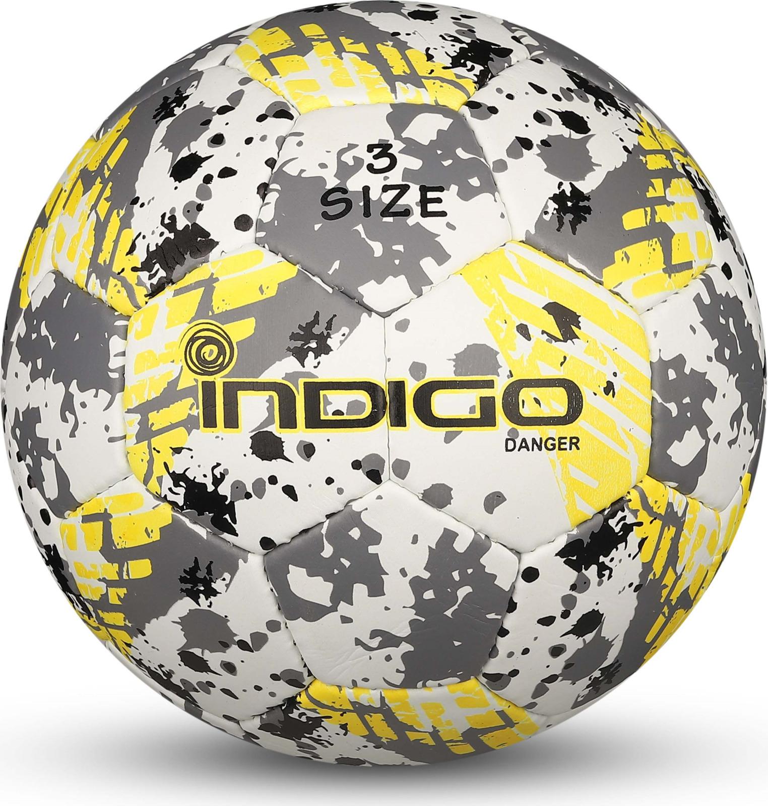 Мяч футбольный Indigo Danger, IN032, белый, серый, желтый, размер 3 мяч футбольный adidas real madrid fbl cw4156 белый серый размер 3