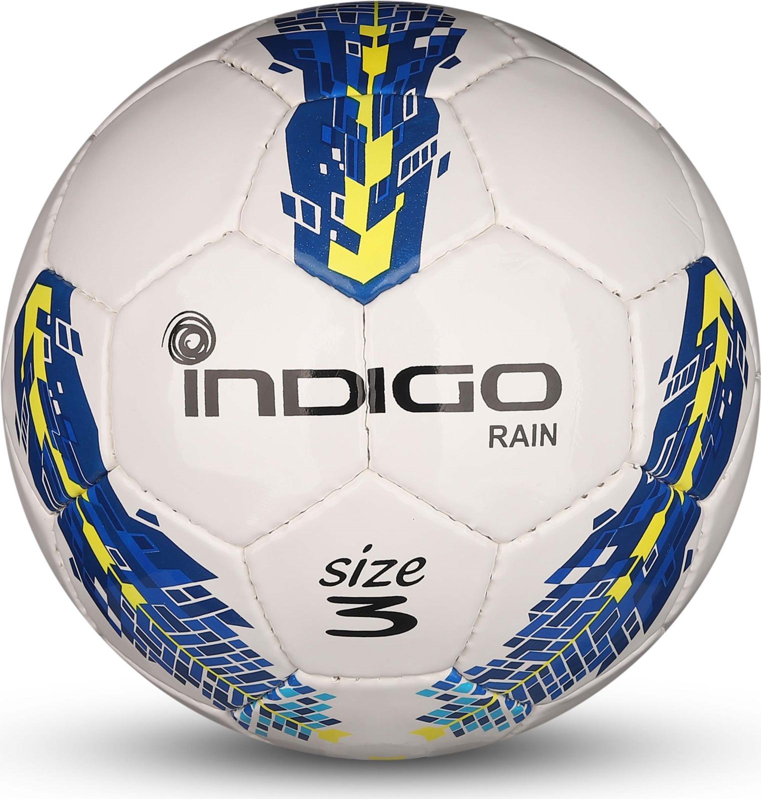 Мяч футбольный Indigo Rain, IN031, белый, синий, желтый, размер 3 очиститель кондиционер кожи autoprofi средство для бережного ухода за кожаным салоном автомобиля и другими изделиями из кожи триггер 500мл