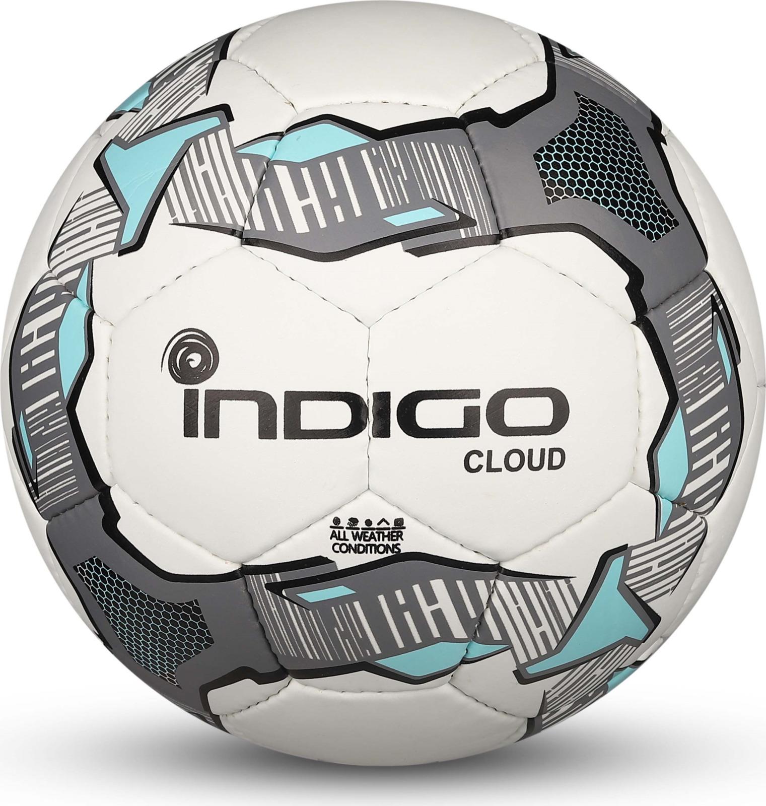 Мяч футбольный Indigo Cloud, IN034, белый, голубой, серый, размер 4 мяч футбольный indigo rain in031 белый синий желтый размер 3